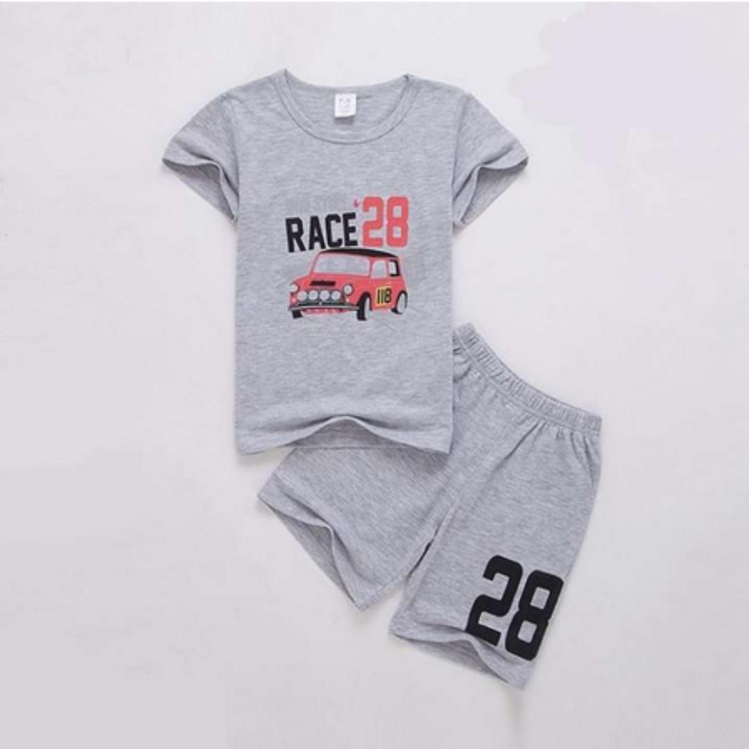 Boys Short Sleeve Cartoon Car Outfits 2Pcs Sets Children Clothes