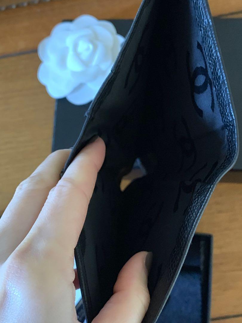 Chanel CC bi fold Long Wallet Black Caviar Skin Leather
