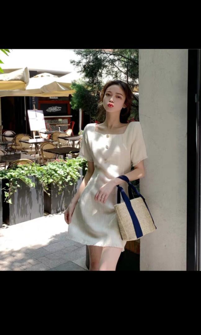 Cream Coloured Button Dress