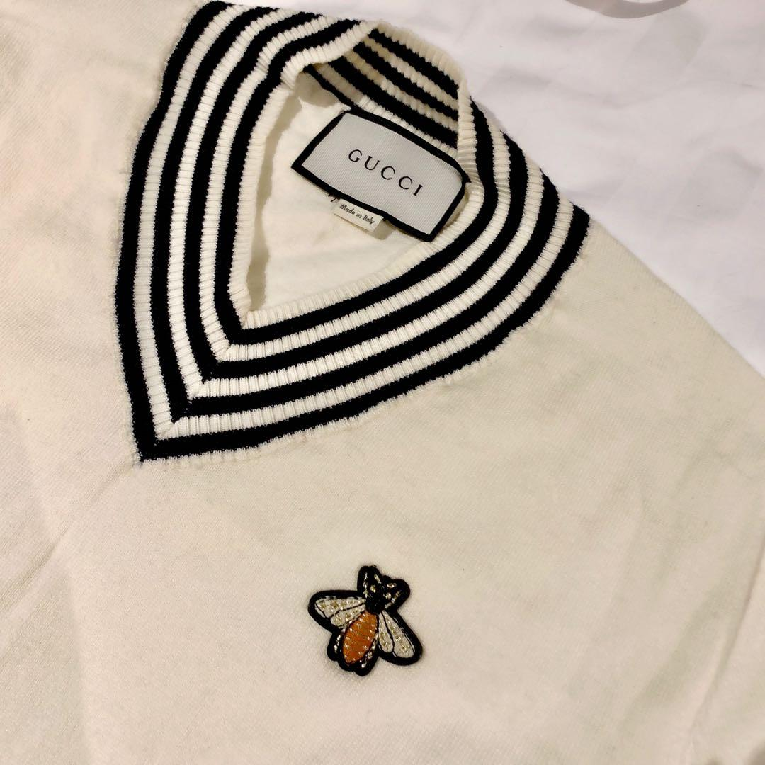 GUCCI little bee preppy style v neck knitwear sweater