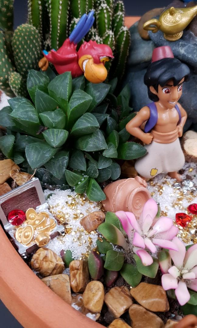 Handcrafted Aladdin themed miniature tabletop garden