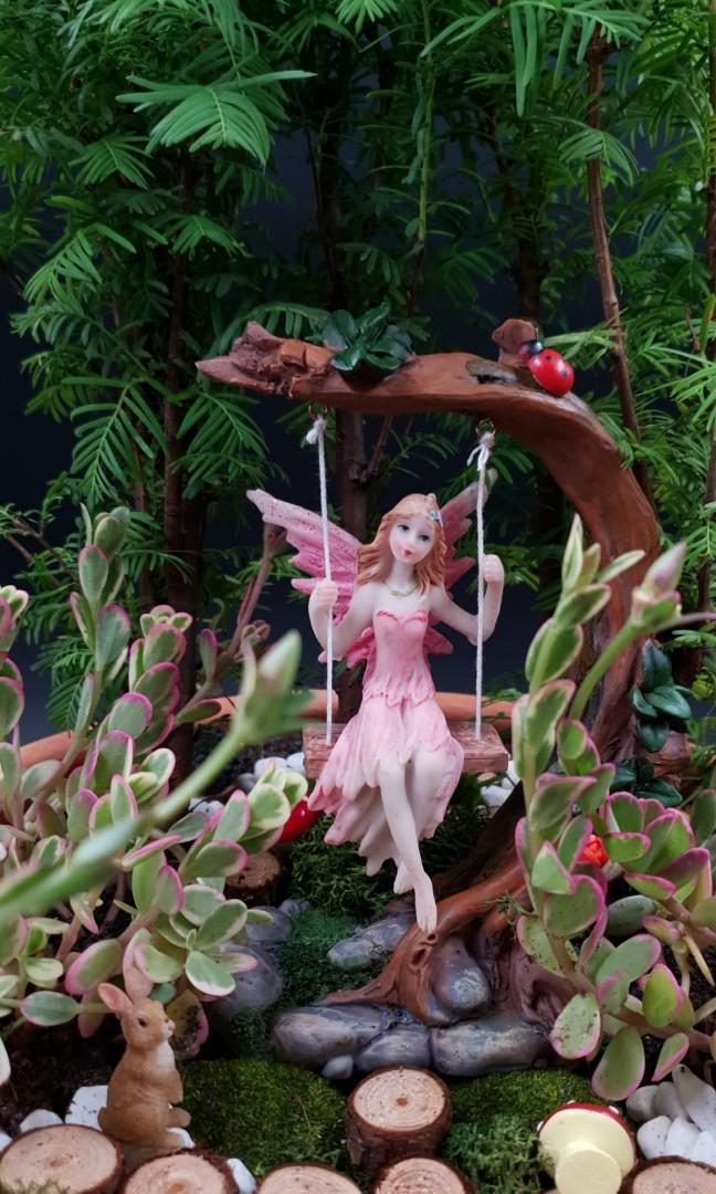 Handcrafted Fairy on Swing Enchanted Magical Forest Tabletop Garden