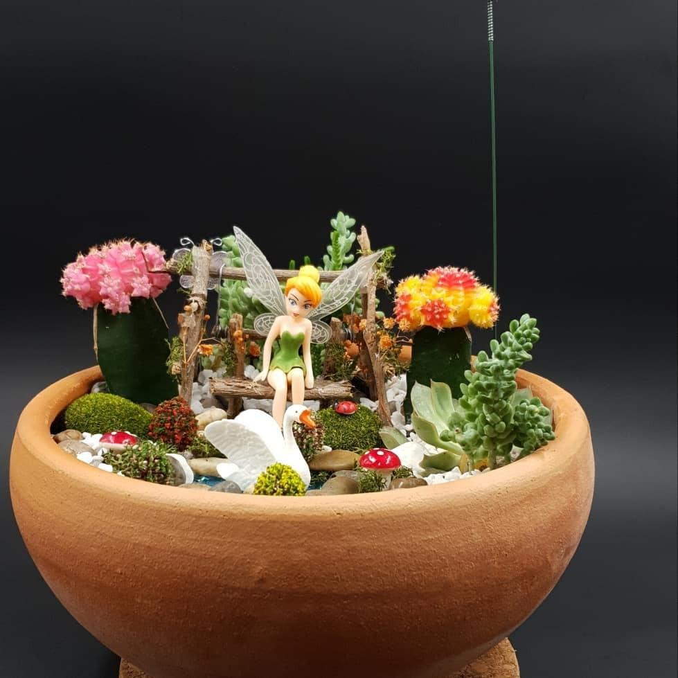 Handcrafted Miniature Fairy on a Swing Tabletop Garden