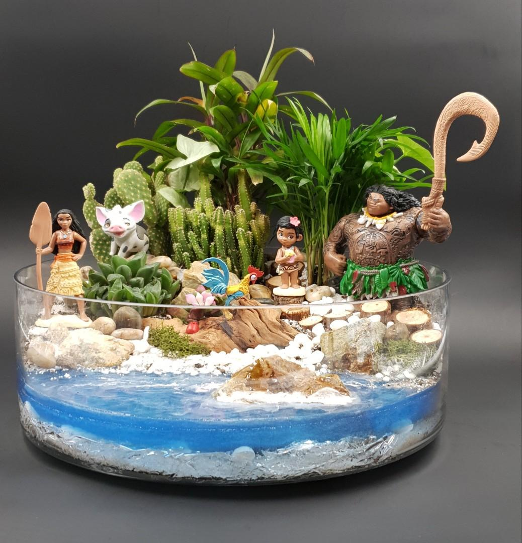 Handcrafted Moana themed tabletop garden