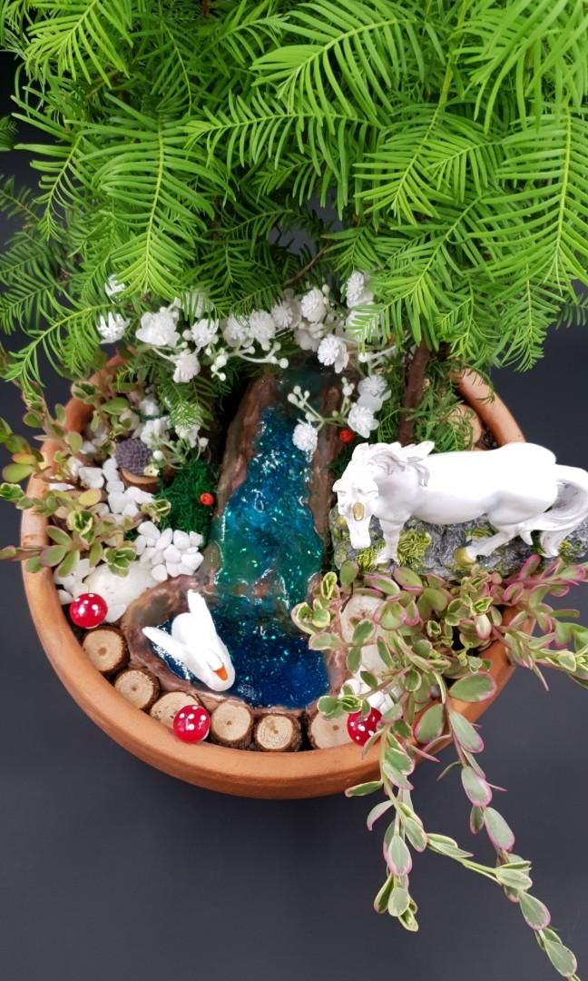 Handcrafted Unicorn Magical Enchanted Miniature Tabletop Garden