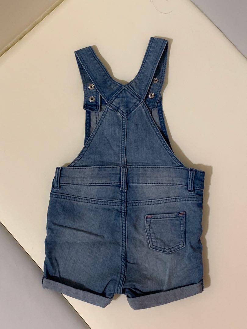 H&M 牛仔吊帶褲 74cm