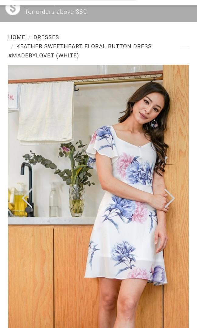 Lovet Keather Sweetheart Floral Button Dress