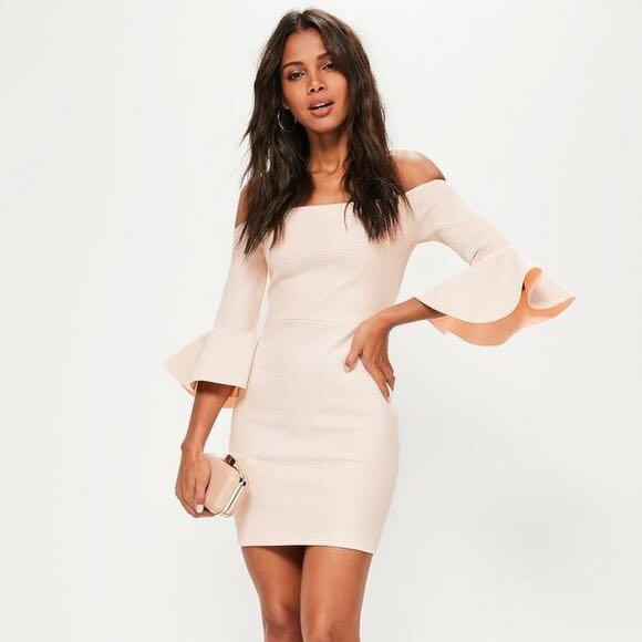 MISSGUIDED Bardot Pink/Nude Dress Size 0