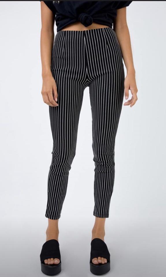 Pin stripe high waisted legging pants
