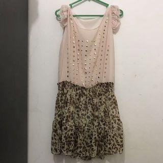 Dress Chiffon Pink Leopard