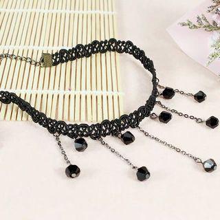 2條黑色蕾絲頸鏈 black lace necklace 水晶頸帶