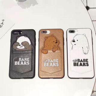 We Bare Bears Card Holder Leather iPhone phone case
