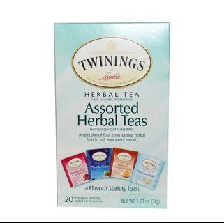 🚚 Twinings Assorted Herbal Teas, Variety Pack, Caffeine Free, 20 Tea Bags, 1.23 oz (34 g)