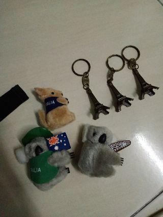 Keychains Eiffel Tower and Koala
