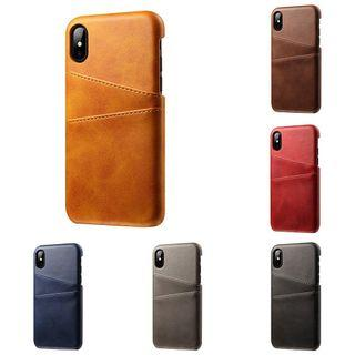iPhone Phone Case Cover Card Holder Slot Faux Leather Back