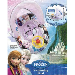 (Free Delivery) Disney Frozen Inflatable Baby Float Swim Ring Seat with Steering Wheel and Canopy Shade