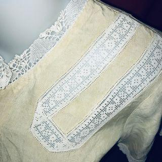 1940s Vintage silk sleep top with drawn cotton lace