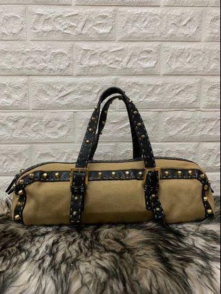 FENDI SELLERIA Canvas & Leather BASSOTTO BAG w/ Studs