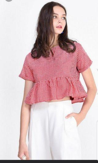 Fayth Jesey Gingham cropped top
