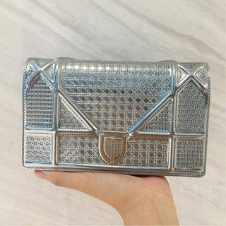 Dior diorama microcannage wallet on chain in silver