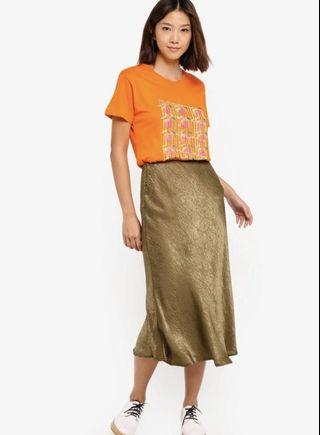 Cotton On Satin Skirt in Olive