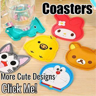 Cute Cartoon Silicone Coasters - Perfect gift for kids, students, friends, colleagues, events, children's party! Birthday Goodie Bags/ Loot Bags/ Childrens Day/ Teachers Day/ Friendship Day/ Christmas/ School/ Stationery/ Stitch/ Doraemon/ Hello Kitty