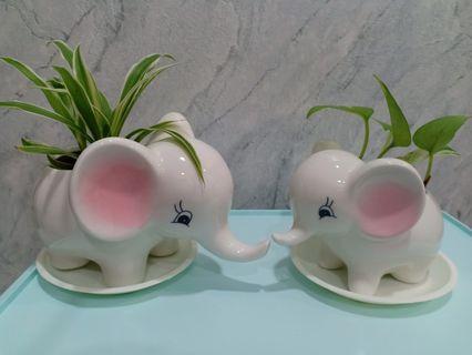 2 X Cute porcelain/ ceramic elephant pot plants!