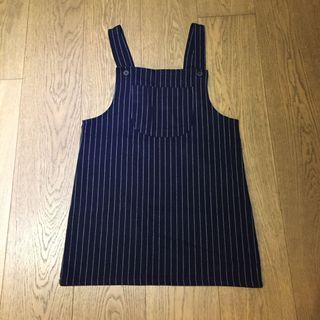 Navy Stripes overalls dress 深藍直條工人裙