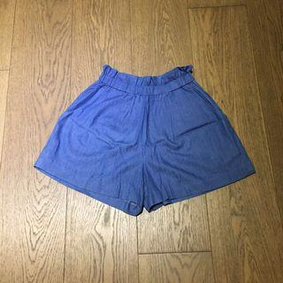 Flared Light Blue Denim Shorts Elastic Waistband 橡筋褲頭牛仔短褲