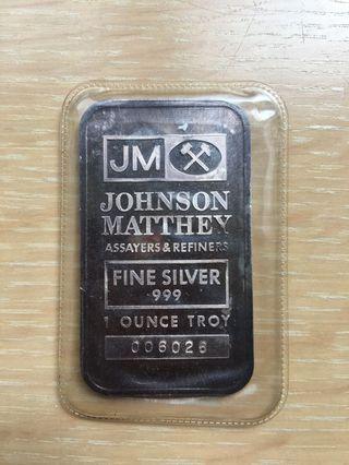 1 ounce Johnson Matthey silver bar