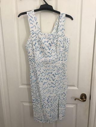 TUSSAH-white /blue tie up dress