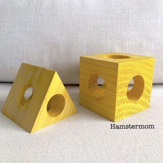 2-Piece Dwarf Hamster Wooden Cube Hideout Toy