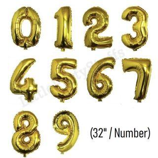 32inch Number Balloons (Gold)