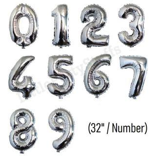 32inch Number Balloons (Silver)