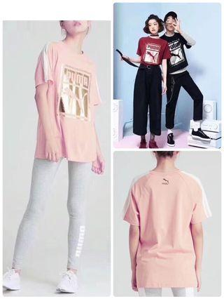 PUMA最新款燙金拼接袖T恤男女同款
