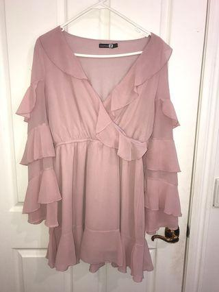 BOOHOO- pink ruffle dress