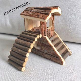 Dwarf Hamster Wooden Playground with Slide House