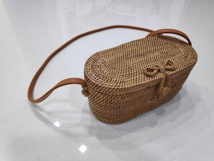 Rattan Sling Bag with bow