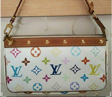 💯Authentic Louis Vuitton LV Multicolor Pochette Accessories White.#MRTRaffles
