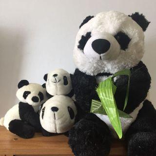 SET OF 4 Panda Plush Stuffed Toys - Super Cute!