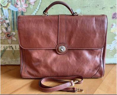 Made in France brown leather briefcase