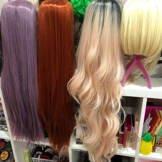 Ombre black to baby pink lacewig