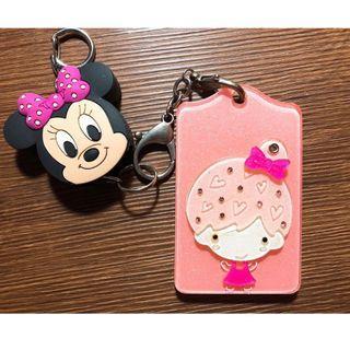 迪士尼 米妮 旋轉鏡 配卡套 悠遊卡 票卡夾