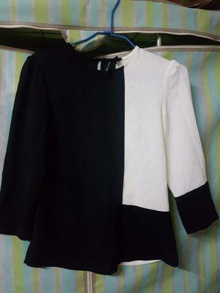 簡單設計黑白兩色雪紡紗