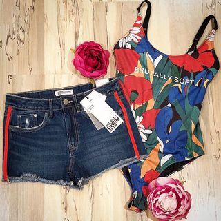 ZARA Denim Shorts & Bodysuit