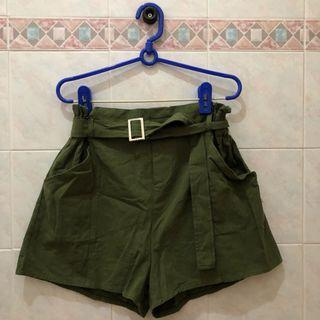 Military Olive Green Buckle Shorts