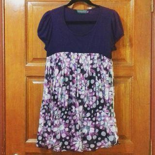 (PLUS SIZE) Babydoll Floral Polka Dots Print Blouse Dress
