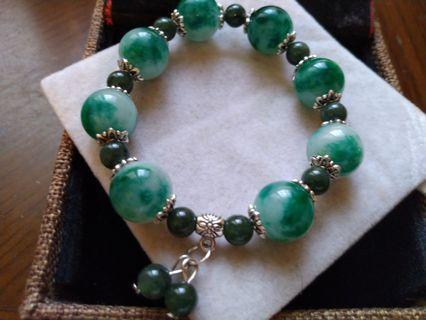 頂級緬甸翠玉綠髮晶手珠