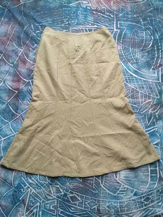 Vintage style long skirt flare beige