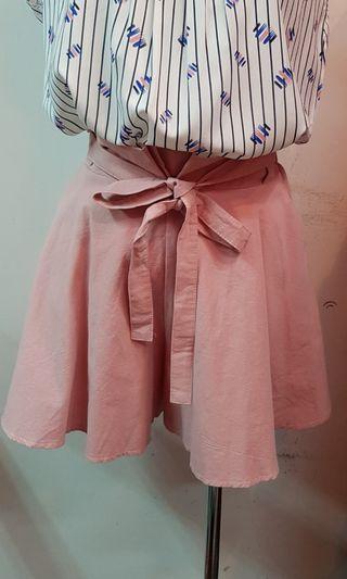 🚚 韓版棉麻布後鬆緊腰褲裙 粉色(S~L號都可穿)